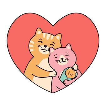 Famiglia di gatti madre, padre e bambino abbraccio neonato in cornice a forma di cuore rosso.
