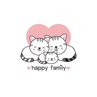 Famiglia di gatti padre madre e bambino.