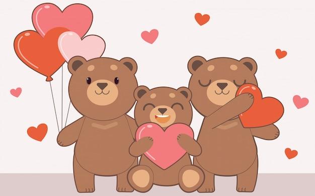 Famiglia di orsi in possesso di un palloncino a cuore e cuscino cuore.