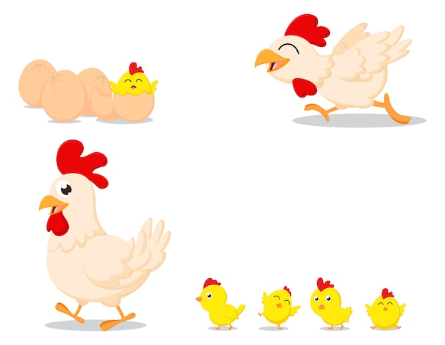 Famiglia di pollo felice dei cartoni animati