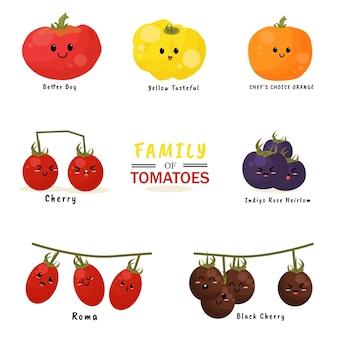 Famiglia di pomodori illustrazione personaggio icona animazione cartoon mascotte espressione