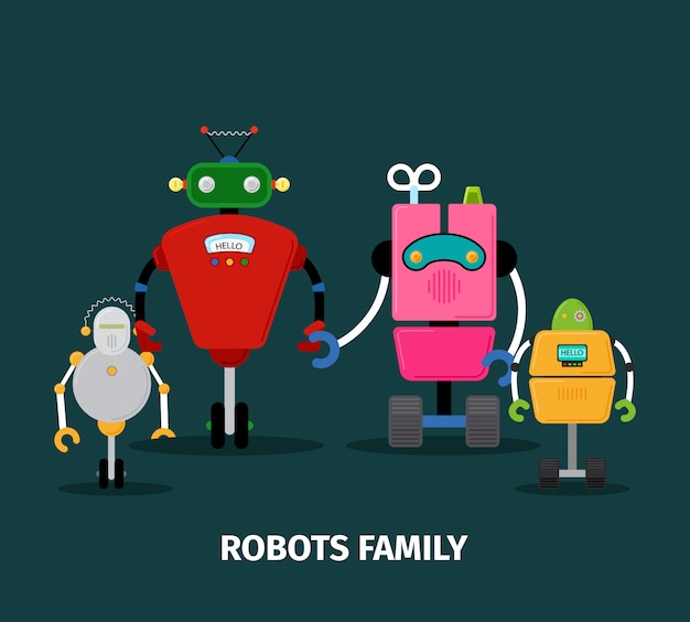 Famiglia di robot con bambini