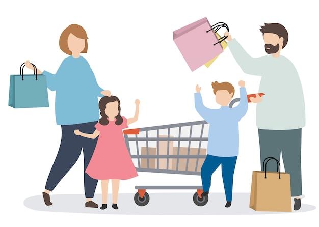 Famiglia di shopping con un carrello della spesa