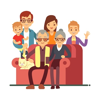 Famiglia di stile del fumetto isolata su bianco. nonni felice coppia di anziani con i nipoti