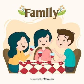 Famiglia disegnata a mano che mangia insieme