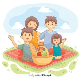 Famiglia disegnata a mano che mangia scena insieme