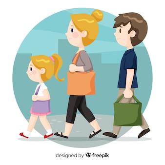 Famiglia disegnata a mano con una passeggiata