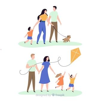 Famiglia disegnata a mano facendo raccolta di attività all'aria aperta
