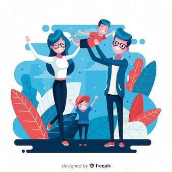 Famiglia disegnata a mano facendo sfondo attività all'aria aperta