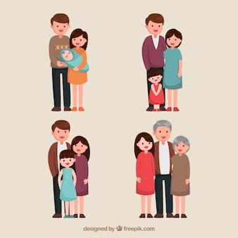 Famiglia disegnata a mano in diverse fasi della vita