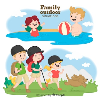 Famiglia disegnata a mano in un viaggio