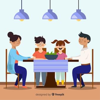 Famiglia disegnata a mano mangiare insieme