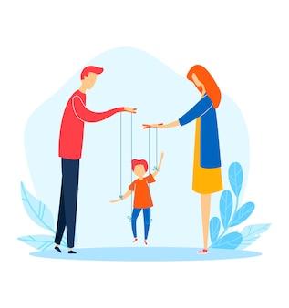 Famiglia donna uomo bambino problema, madre padre manipolare figlio di cartone animato, illustrazione. crudeltà nei rapporti, conflitto dispotico con i genitori.