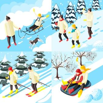 Famiglia durante le vacanze invernali che sledding il gioco nelle palle della neve e nel concetto isometrico di corsa con gli sci isolato