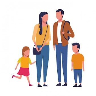 Famiglia e cartoni animati per bambini