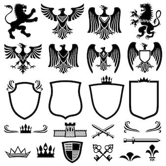 Famiglia elementi vettoriali stemma