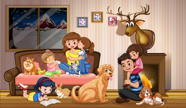 Famiglia felice a casa
