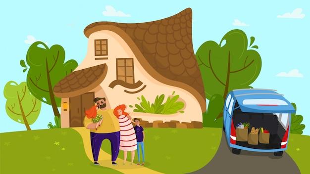 Famiglia felice al cottage accogliente, genitori amorevoli e bambini svegli, illustrazione della gente