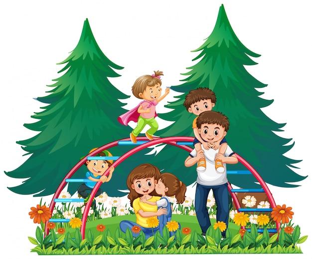 Famiglia felice al parco giochi