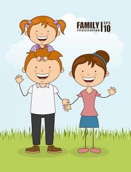 Famiglia felice all'aperto