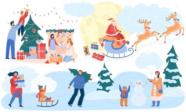 Famiglia felice che celebra il natale, illustrazione del fumetto di tempo all'aperto di inverno