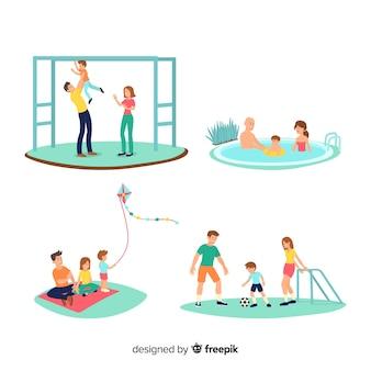 Famiglia felice che gioca all'aperto