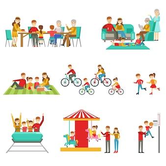 Famiglia felice che si diverte insieme insieme delle illustrazioni