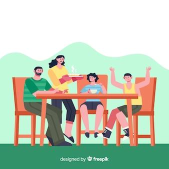 Famiglia felice che si siede al tavolo, character design