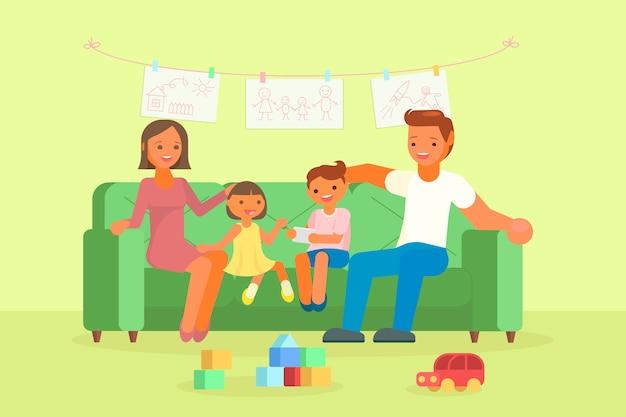 Famiglia felice che si siede sull'illustrazione del sofà