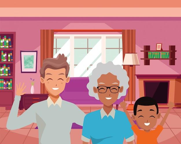 Famiglia felice che sorride dentro i cartoni animati domestici