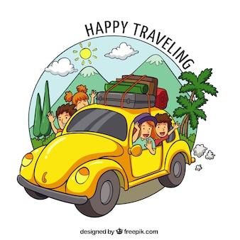 Famiglia felice che viaggia in mano stile disegnato