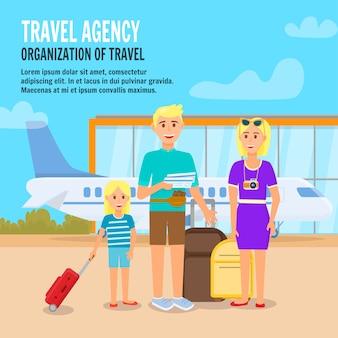 Famiglia felice che viaggia insieme.