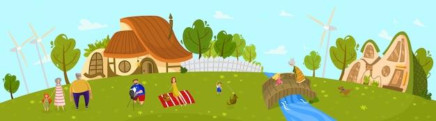 Famiglia felice che vive in campagna, picnic all'aperto estivo, illustrazione di persone