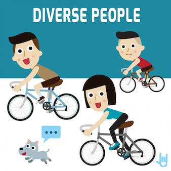 Famiglia felice ciclista