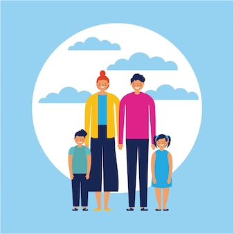 Famiglia felice con bambini, stile piatto