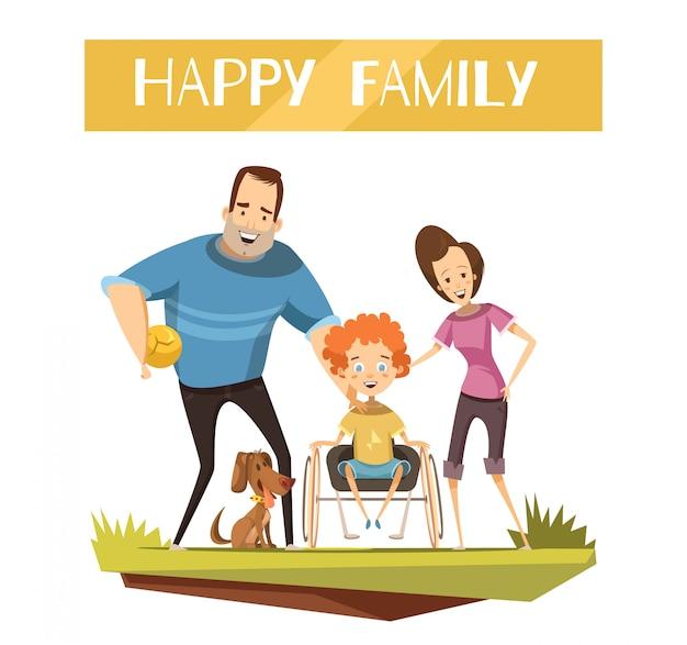 Famiglia felice con bambino disabile su sedia a rotelle e cane durante la passeggiata dei cartoni animati