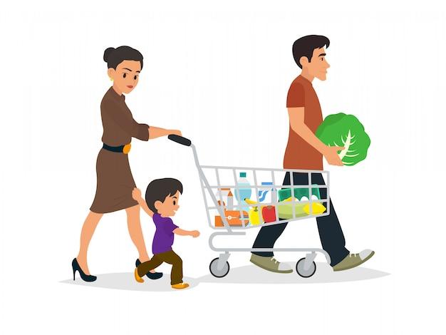 Famiglia felice con borse della spesa.