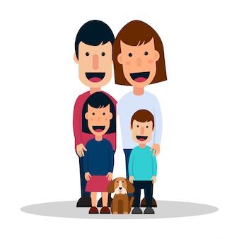 Famiglia felice con il cane