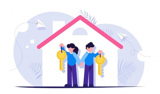 Famiglia felice con le chiavi di una nuova casa. illustrazione sul tema del prestito ipotecario