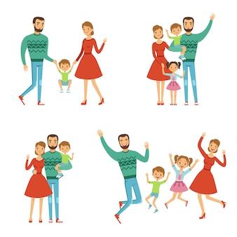 Famiglia felice con madre, padre e figli.