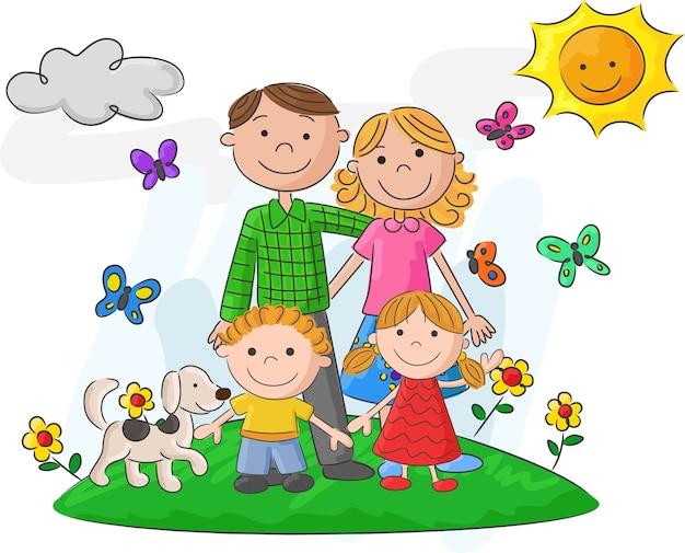 Famiglia felice contro un bellissimo paesaggio
