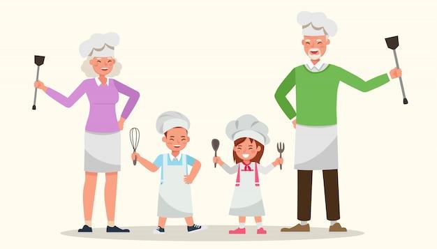 Famiglia felice cucinare insieme.