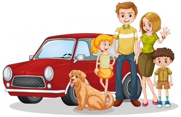 Famiglia felice davanti alla macchina