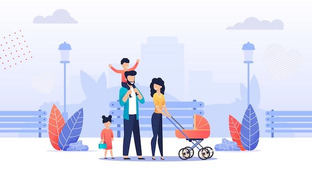 Famiglia felice del fumetto che cammina insieme nel parco della città