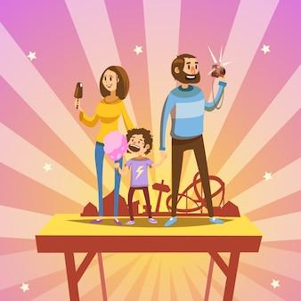 Famiglia felice del fumetto in parco di divertimenti con le attrazioni di retro stile su fondo