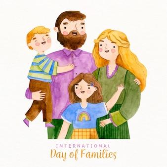 Famiglia felice dell'acquerello con fratelli