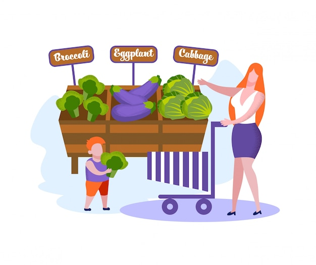 Famiglia felice di madre e figlio piccolo shopping