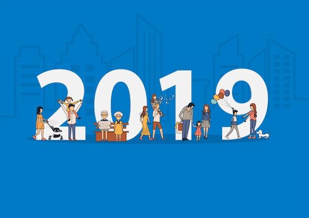 Famiglia felice di nuovo anno 2019 divertendosi concetto di idea di stile di vita