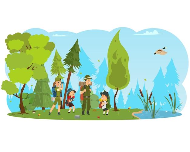 Famiglia felice ed escursioni.