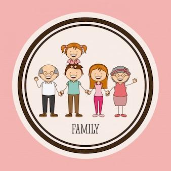 Famiglia felice in una cornice circolare